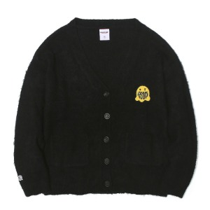 벌스원 VERSEONE - GHOST PATCHED MOHAIR CARDIGAN BLACK