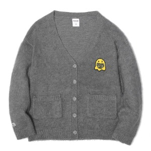 벌스원 VERSEONE - GHOST PATCHED MOHAIR CARDIGAN GREY